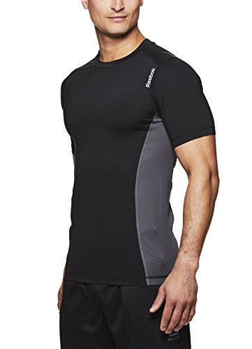 Reebok Men's Compression Workout T Shirt - Short Sleeve Mesh Gym & Training Activewear Top - Black Sipes, Large ()