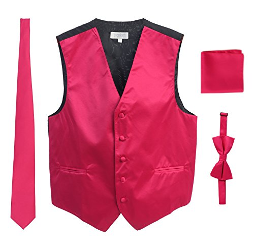 Gioberti Men's Formal Vest Set, Bowtie, Tie, Pocket Square, Fuchsia, X Large