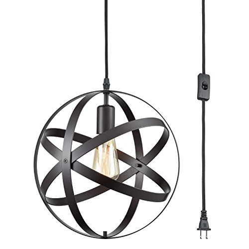 DANXU Plug in Industrial Metal Spherical Pendant Displays Changeable Hanging Lighting Fixture with Hanging Cord