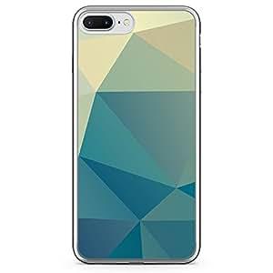 Loud Universe iPhone 7 Plus Transparent Edge Case - Blue Shades Geometrical Pattern