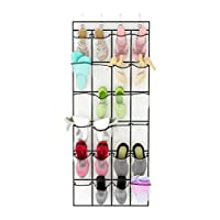 Unjumbly Over the Door Shoe Organizer from, 24 Pocket Sturdy Shoe Hanger with Large Clear Mesh Pockets, Complete with 4 Reversible Robust Over the Door Hooks, White