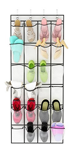 Over the Door Shoe Organizer from Unjumbly, 24 Pocket Sturdy Shoe Hanger with Large Clear Mesh Pockets, Complete with 4 Reversible Robust Over the Door Hooks, White