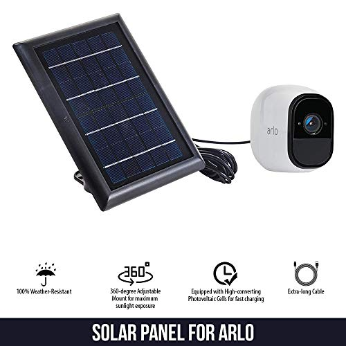 Solar Panel Compatible with Arlo Pro, Arlo Pro 2, Arlo GO & Arlo Light, Power Your Arlo Outdoor Camera continuously with Our New Solar Charging Device – by Wasserstein