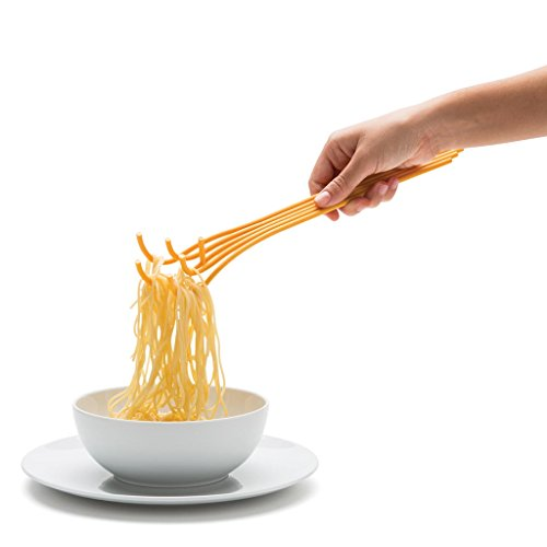 Spaghetti Serving Fork for Noodles and Pasta, Novelty Spoon and Strainer, Yellow, by Monkey Business