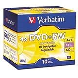 ** DVD+RW Discs, 4.7GB, 4x, w/Slim Jewel