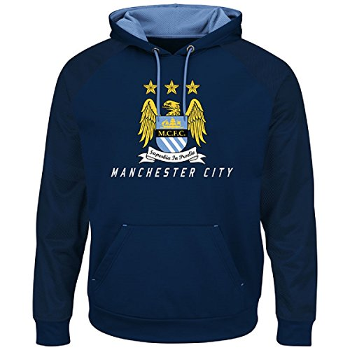 fan products of International Soccer Manchester City Men's Amor II Long Sleeve Hooded Sweater, Navy/Coastal Blue, Small