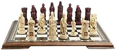Battle of Bannockburn Themed Chess Set - 4.25 Inches - In Presentation Box - Handmade in UK - Ivory and Burgundy