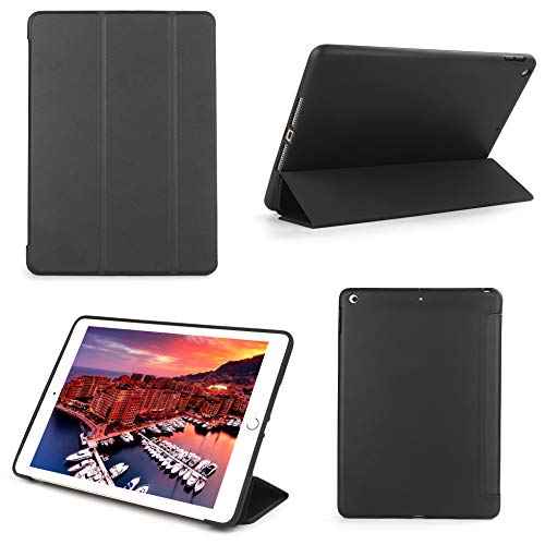Bear Motion Silicon Case for New iPad 9.7 2018/2017 with TPU Front Cover Stand Support Auto Sleep Function (New iPad 9.7 2018, Black)
