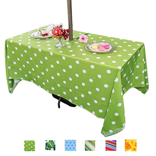 (Eternal Beauty Polyester Outdoor Tablecloth Rectangular Spillproof with Umbrella Hole Zipper for Spring Summer Dining BBQ Party (Green Polka Dot, 60x84inch))