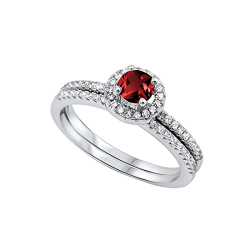 Blue Apple Co. Dazzling Halo Wedding Bridal Matching Band Ring Round Simulated Garnet 925 Sterling Silver, - Asscher Garnet Ring