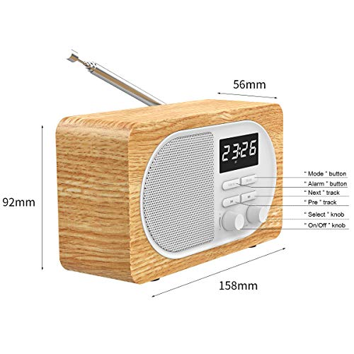 Radio Retro Bluetooth Speaker, Bluetooth 5.0 True Wireless Speakers with HD Sound and Rich Bass, FM Radio Night Light LED Digital Display Sleep Timer Built-in USB, TF Card Slot & AUX Input