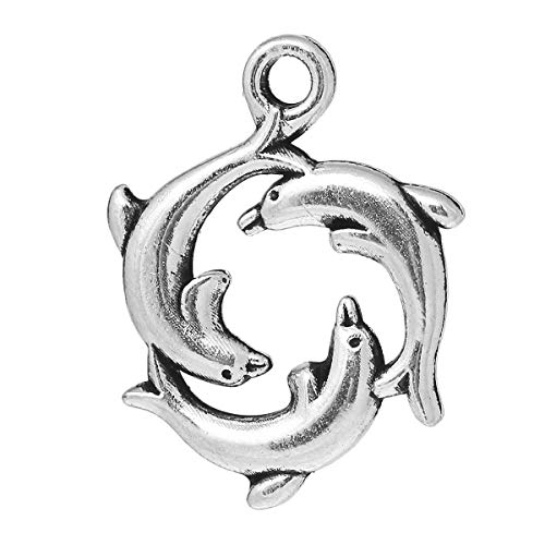 PEPPERLONELY 30pc Antiqued Silver Alloy Dolphin Animal Charms Pendants 21x16mm (7/8
