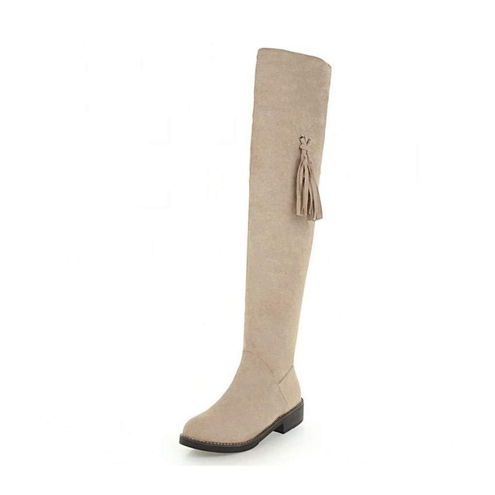 HAOLIEQUAN Vintage damen Stiefel Over The Knee Fringes Warm schuhe damen Winter High Heels Stiefel Fashion Lady schuhe Größe 34-43