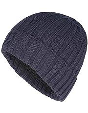 Vimfashi Winter Warm Rib Knit Cuff Beanie Hat Soft Fleece Lined Skull Cap
