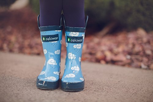 Oakiwear Kids Rubber Rain Boots with Easy-On Handles, Clouds, 4Y US Big Kid by Oakiwear (Image #7)