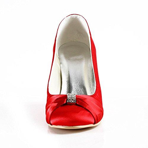 Minishion Mz597 Dames Ronde Neus Hoge Hak Wig Rhinestion Bruids Bruiloft Avond Satijnen Pomp Schoenen Rood-9cm Hak