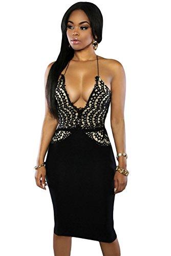 Acento de encaje negro Midi de baja cuello en V Bodycon Vestido Club Wear TAMAÑO M UK 10–�?2