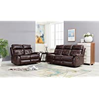 GTU Furniture Double Reclining Sofa and Loveseat, Brown Bonded Leather Living Furniture Set