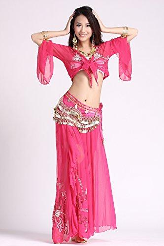 Baile Conjuntos Ropa de baile Vientre Baile Disfraz Vendaje Sostén Parte superior & Lado Abertura Bordado Falda & Cadera Bufanda Dark Pink