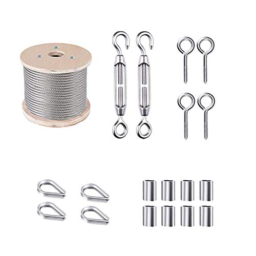 Cable Railing Kits,Picture Wire,Lag Screw,Wire Rope,Eye Screw,Garden Wire,Carabiner Hook,with Turnbuckle Wire Tensioner