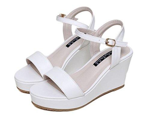 Xing Lin Sandalias De Mujer Nuevas Mujeres S Sandalias Verano Palabra Gruesa Negra Deducción Wedge Heel Shoes Pequeño Código 31 32 33 white