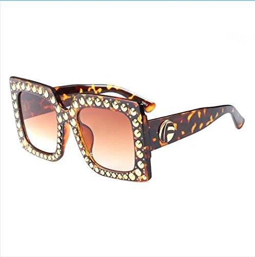 UN Designer Degradado Meatl Gafas Mujer Gafas Burenqi Remaches Hembra E Lujo Bastidor Plaza Sobredimensionado de UV400 Sol Marca de z6TA1q