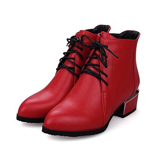 BalaMasa Ladies Bandage Electroplate Heel Mule Imitated Leather Boots Red qx5vZ5