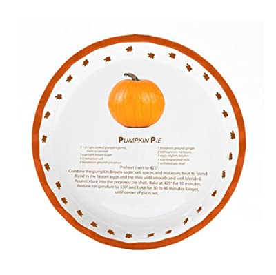 Bamboo Studios Decorative Pumpkin Pie Plate, 8-Inch