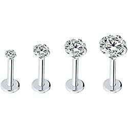 Injoy Jewelry 16G Stainless Steel 2-5mm Round Cubic Zircon Lip Rings Labret Monroe Nose Tragus Helix Ear Piercing Jewelry 6mm Bar Length, 4Pcs