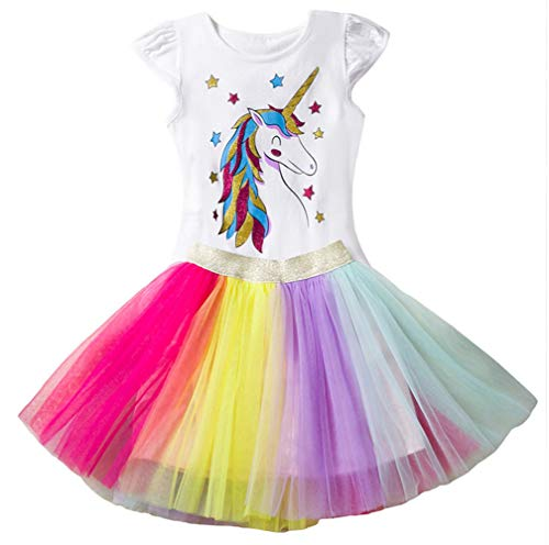 Toddler Girls Princess Tulle Dress Unicorn Cotton Short Sleeve Set Casual Colorful Lace ()