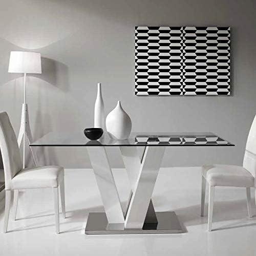Tavoli In Cristallo E Acciaio.Mocada Ennio Tavolo Fisso Design 160x90 Cristallo Legno E Acciaio