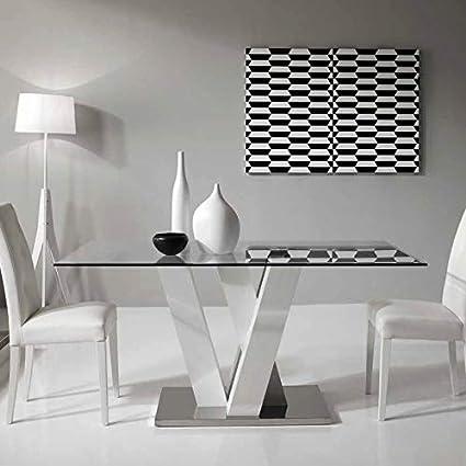 Tavoli Vetro E Acciaio Design.Mocada Ennio Tavolo Fisso Design 160x90 Cristallo Legno E Acciaio Bianco Frassinato
