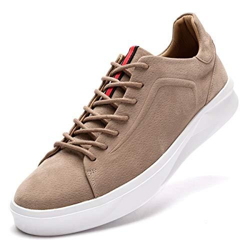 (FLSHO Men's Classic Suede Leather Sneakers Lace Up Fashion Low Top Sneakers Khaki Skateboard Shoes Size 9.5 FLS-1992KQ095)