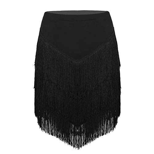 YiZYiF Womens Latin Tango Ballroom Tassel Fringe Skirt