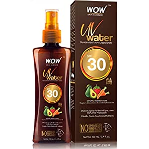 WOW Skin Science UV Water Transparent Sunscreen Spray SPF 30 – Quick Absorbing – Oil Free – with Raspberry Extract…