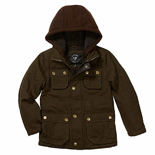 Fleece Lined Hooded Washed Cotton Twill Cargo Safari Jacket (Medium (10/12), Olive) (Twill Cargo Jacket)