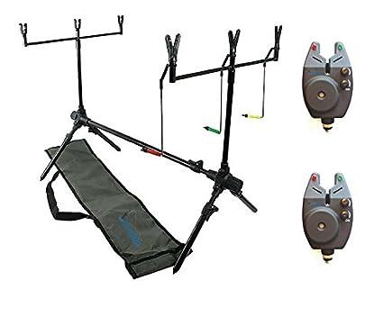Tasche 2 Bissanzeiger 2 Buzzer Bar 6 Ruten Auflagen Halter DD-Tackle 2er Karpfen Rod Pod
