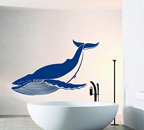 Ditooms Wall Decals Big Whale Decal Sea Ocean Animals Bathroom Interior Design Home Vinyl Sticker Murals Wall Decals (Whale Mural)