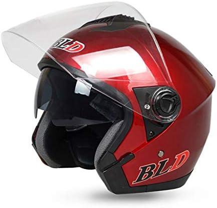 NJ ヘルメット- 電動バッテリーオートバイのヘルメット男性と女性の四季軽量のHD防曇ヘルメット (色 : 赤, サイズ さいず : 33x26cm)