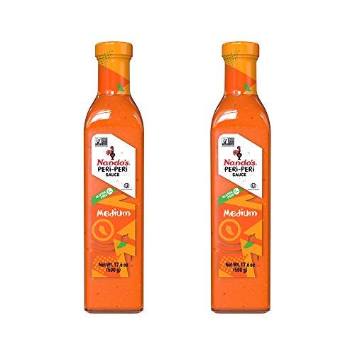 Nando's Medium PERi-PERi Sauce - Gluten Free - Sugar Free - 1/2 Liter (2 Pack) (Sauce Nando)