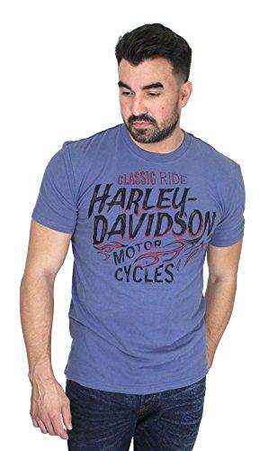 Sleeve Short T-shirt Flame (Harley-Davidson Mens Smokey Tank Flames Blue Short Sleeve T-Shirt (X-Large))
