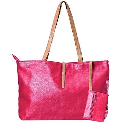 Tongshi famosa marca mujeres de la moda bolsos de hombro ocasional rosas fuertes