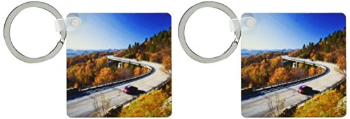 3dRose Linn Cove Viaduct, Blue Ridge Parkway, North Carolina, Chuck Haney Key Chains, Set of 2 (kc_93223_1) ()