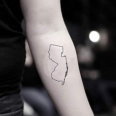 Tatuaje Temporal de Mapa de Nueva Jersey (2 Piezas) - www.ohmytat ...