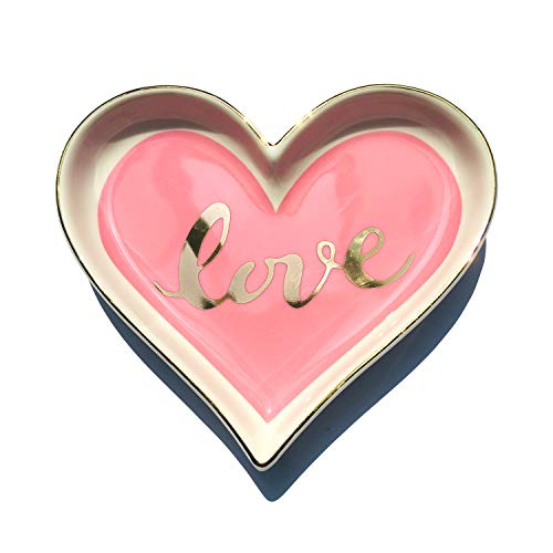 onederful Ceramic Pink Love Heart Shape Ring Dish Holder Trinket Dish Holder Jewelry Holder,Engagment Wedding Gifts for Girls,Women,Newlyweds and Bridal