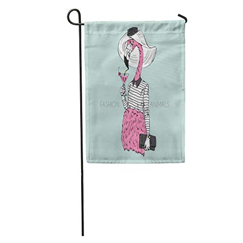 NfuquyamDoormat Garden Flag Animal Anthropomorphic Furry of Flamingo
