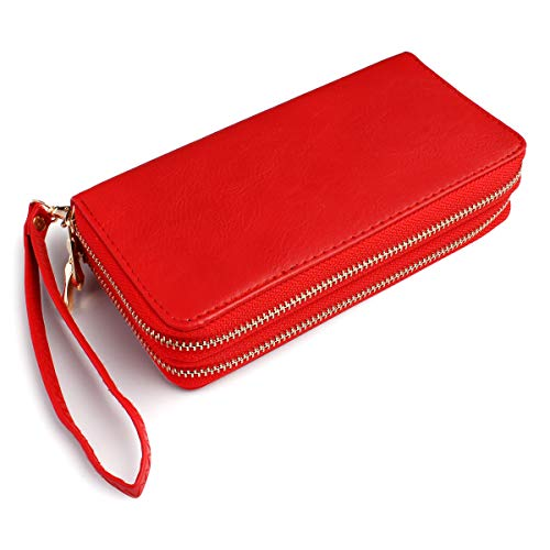 (Classic Zip Around Wallet - PU Leather Double Zipper Clutch Purse with Card & Phone Slots, Removable Wristlet Strap (Red))