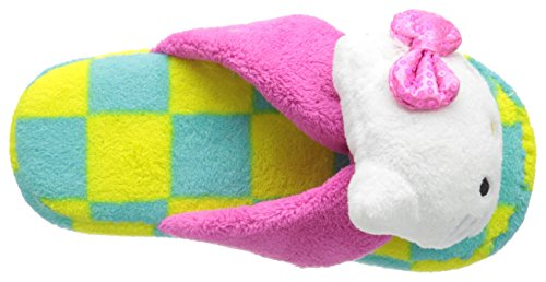 Hello Kitty Kvinna Plysch Rutig Rem Toffel Med 3d Huvud Och Paljett Båge Citron / Turkos