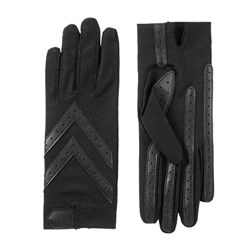 isotoner Women's Spandex Stretch Shortie Cold Weather Gloves with Leather Palms and Chevron Details, smartDRI Black, Small / Medium