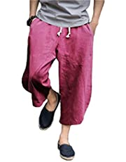 KEFITEVD Mens Baggy Linen Shorts Loose Casual Lightweight Capri Pants Yoga Harem Beach Pants with Pockets